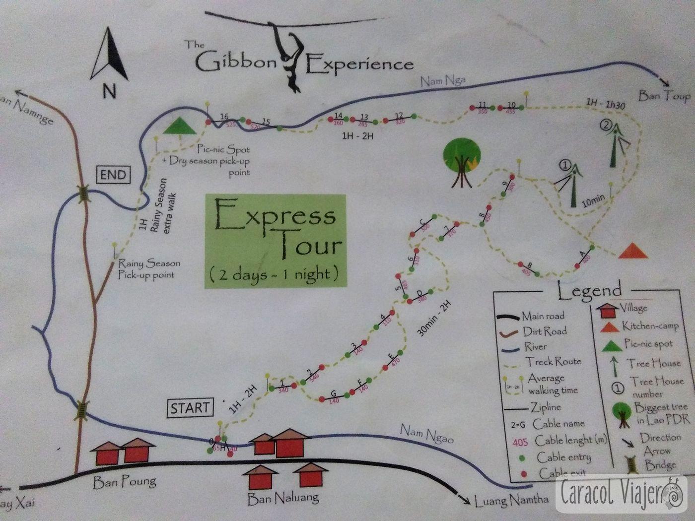 Express Tour mapa Gibbon Experience