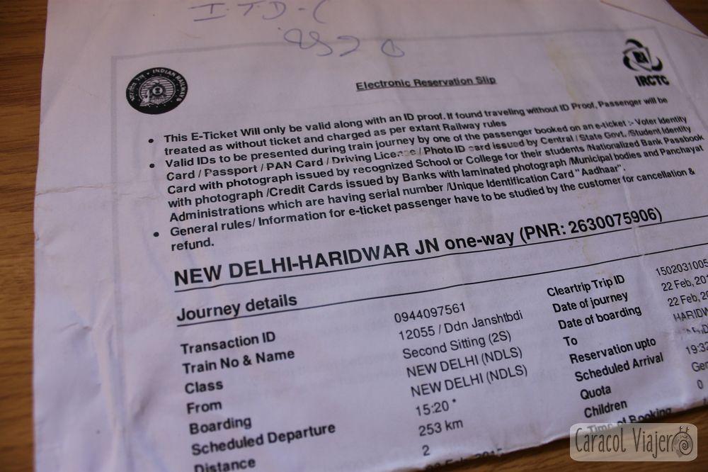 Ticket de Haridwar (Clear Trip) India