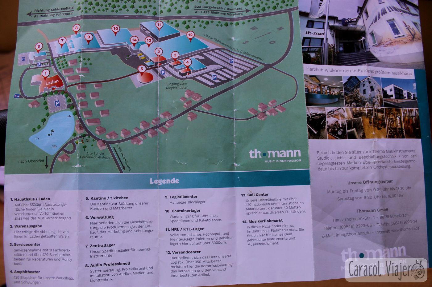 mapa tienda Thomann nave y almacén