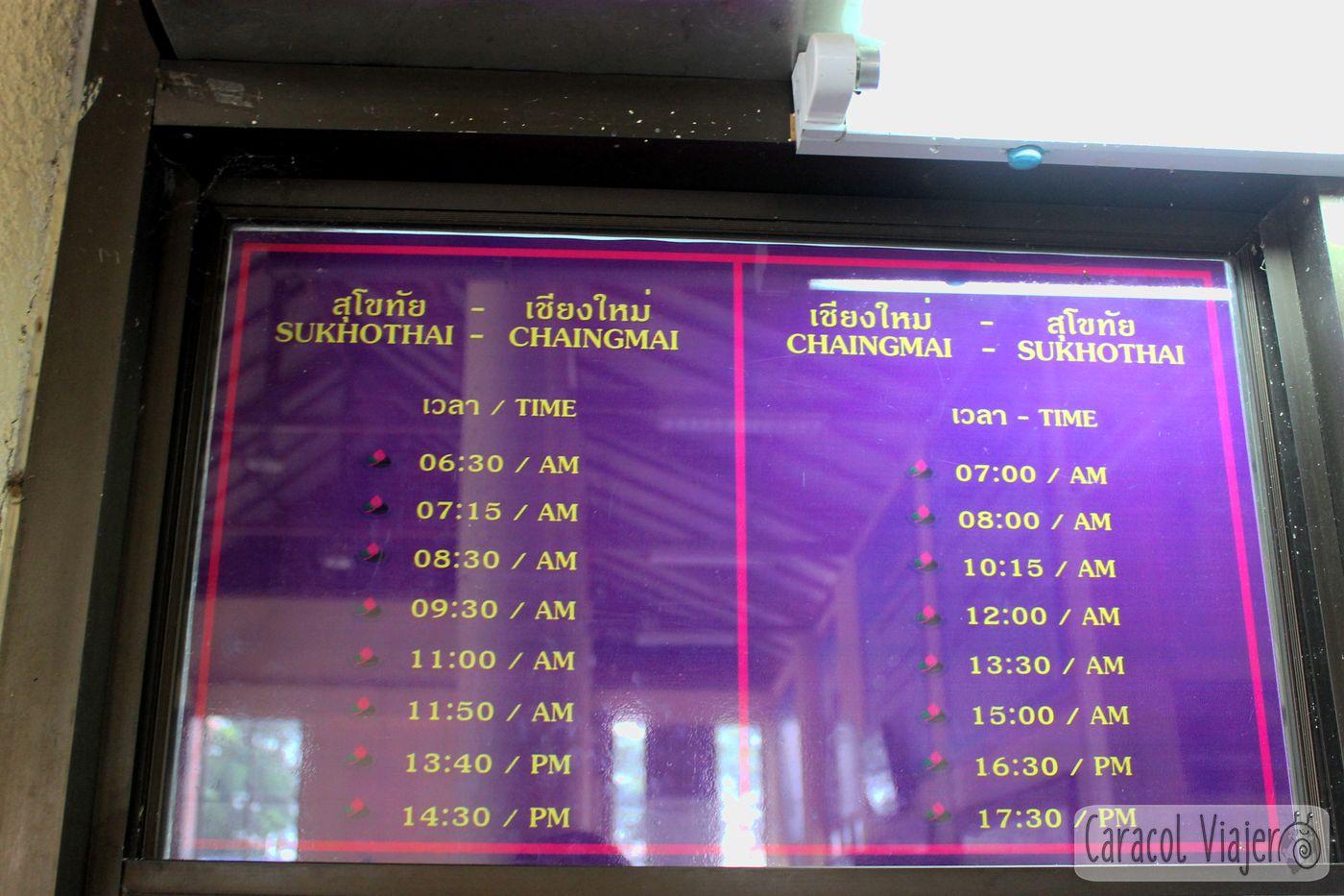 Horarios Sukhothai Chiang Mai Tailandia buses
