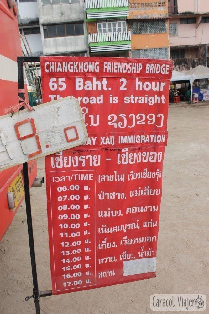 Horarios bus Chiang Rai a Chiang Khong