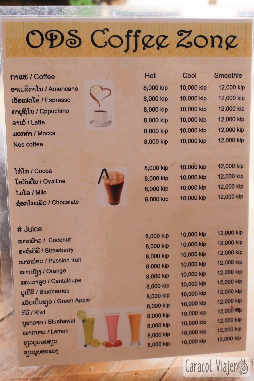 Precios bebidas Laos