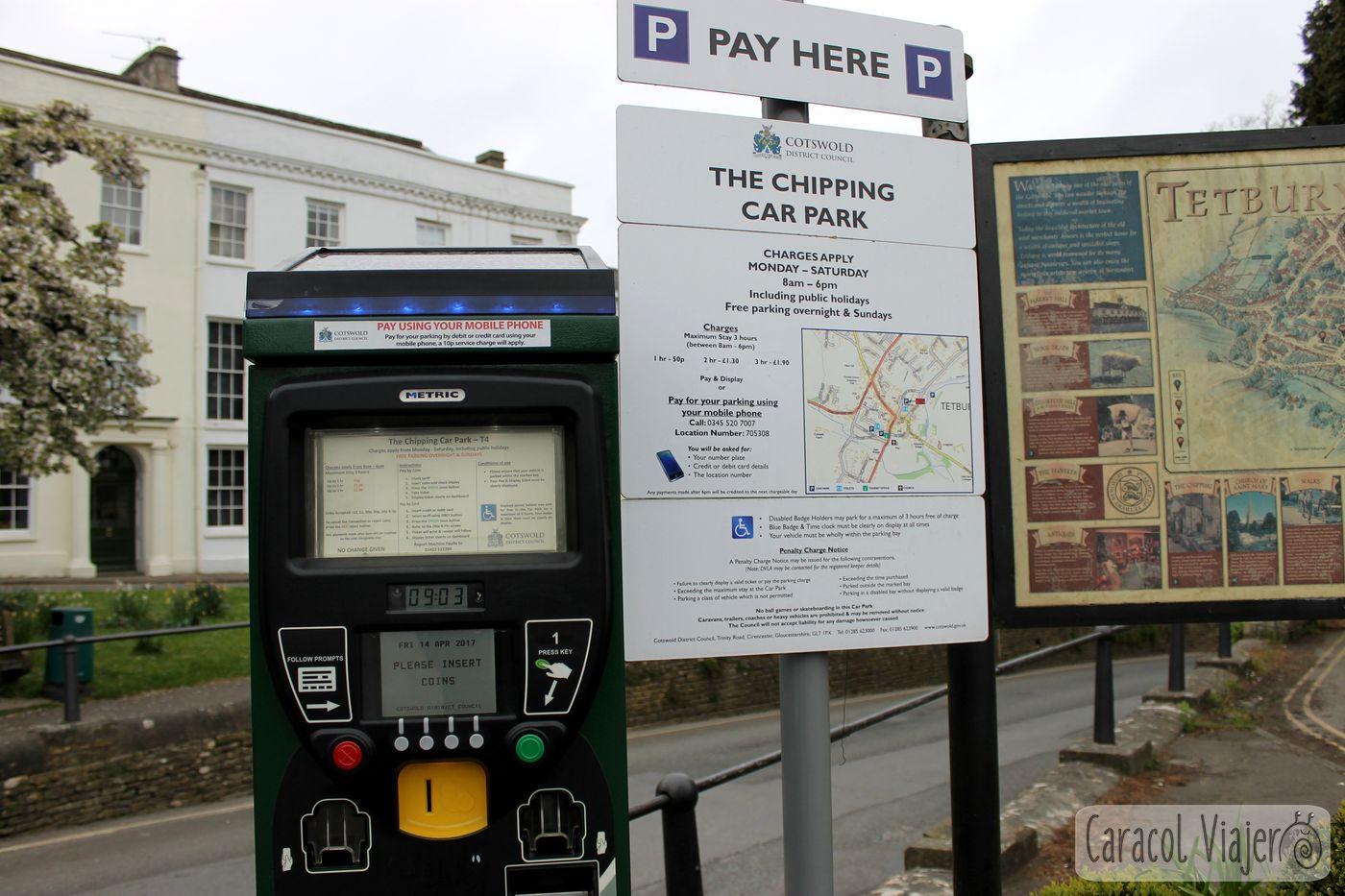 Parking en Tetbury, máquina de la hora - ruta al castillo de Sudeley