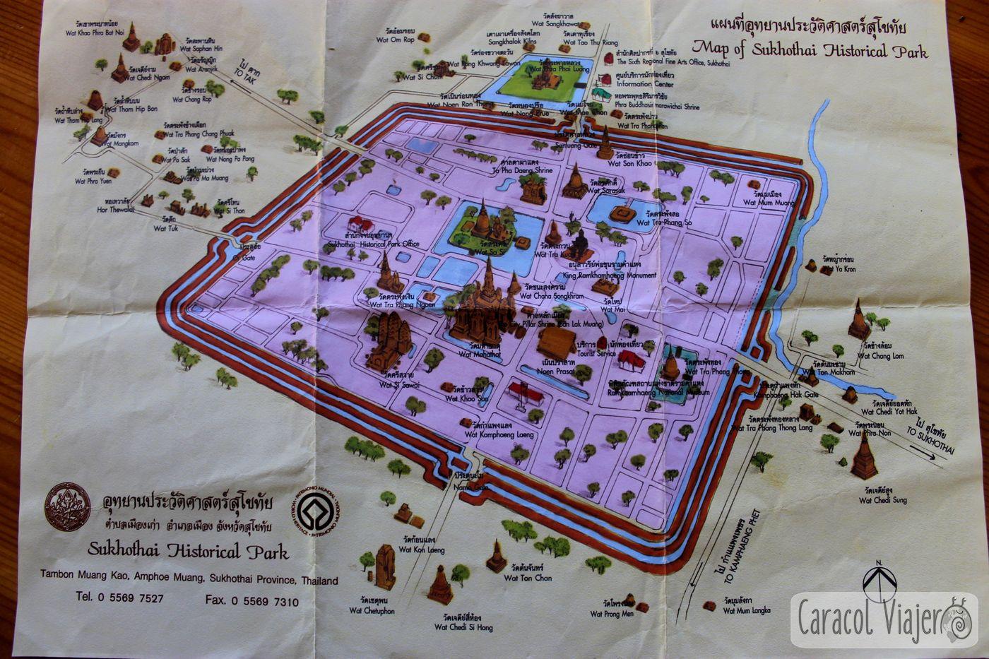 mapa del Parque Histórico de Sukhothai