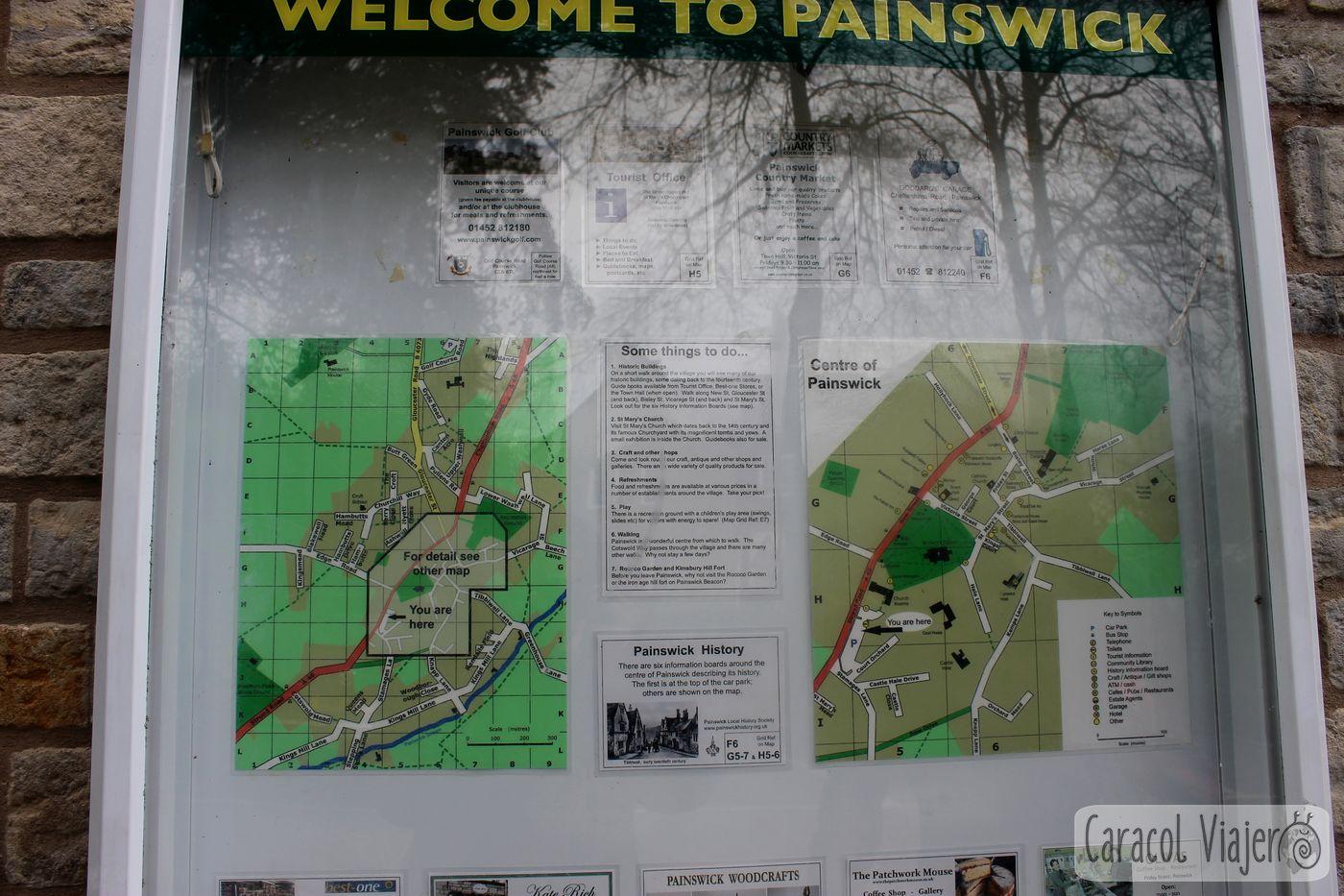 Mapa pueblo Painswick - ruta al castillo de Sudeley