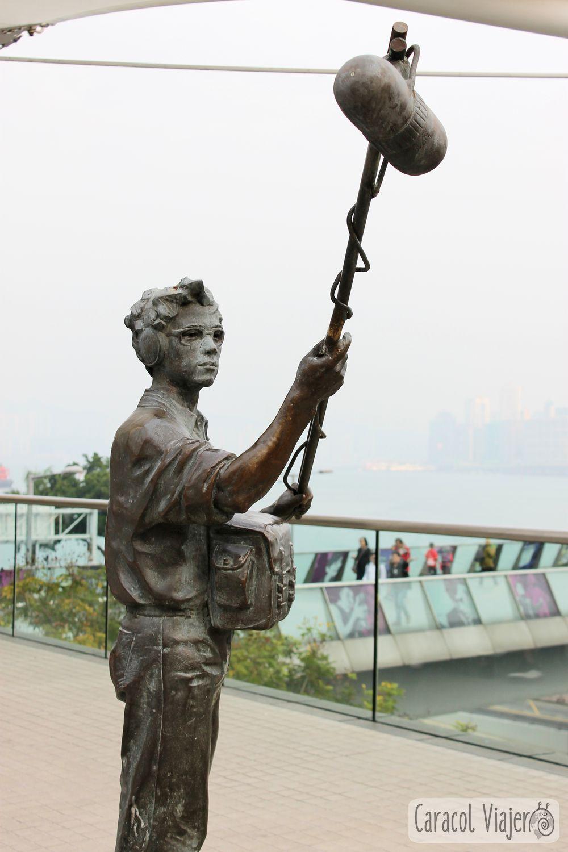 filmación película estatua