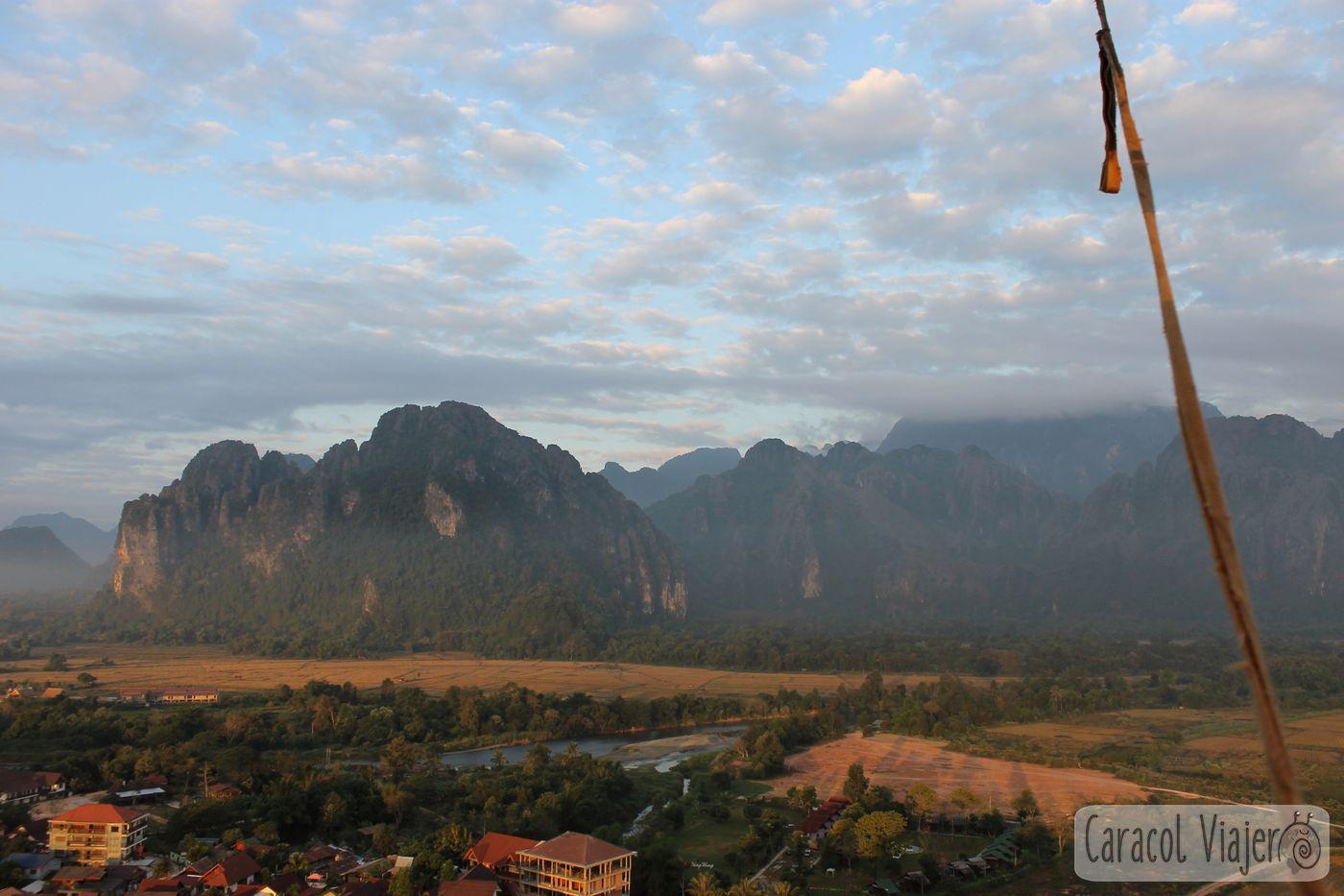 Vang Vieng vistas desde globo