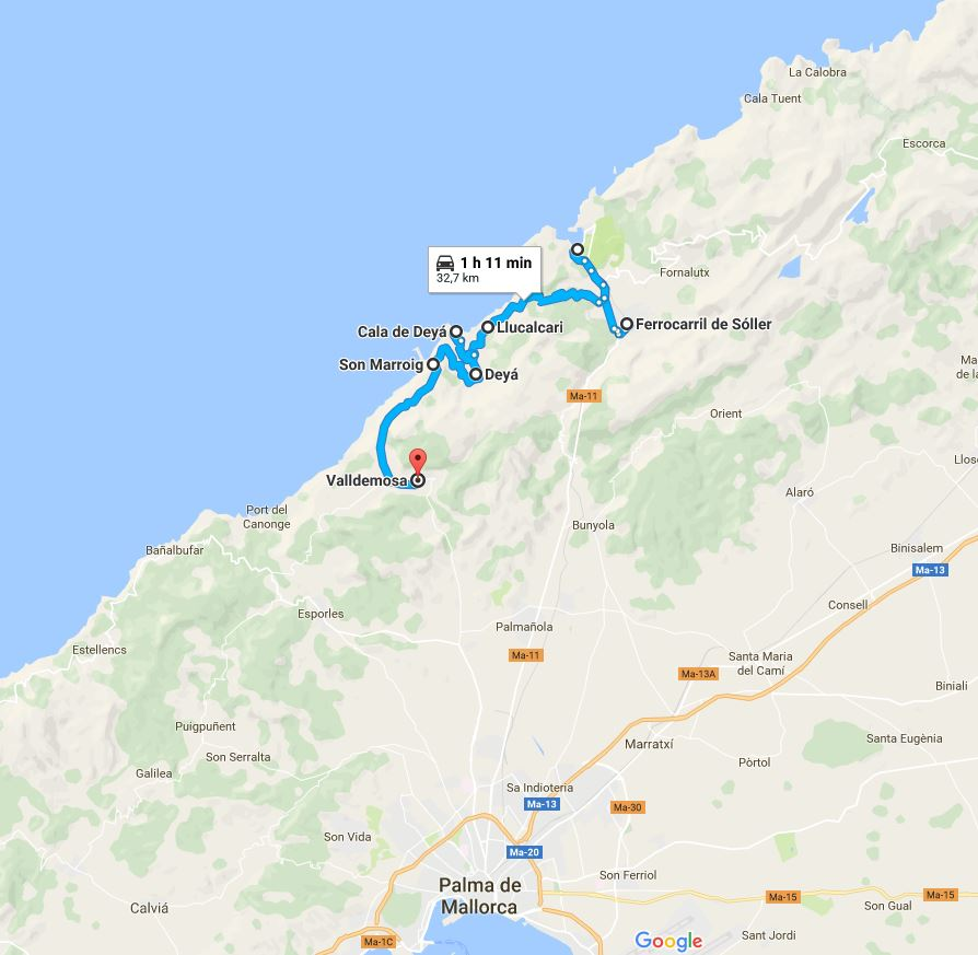 Itinerarion Noroeste Mallorca mapa