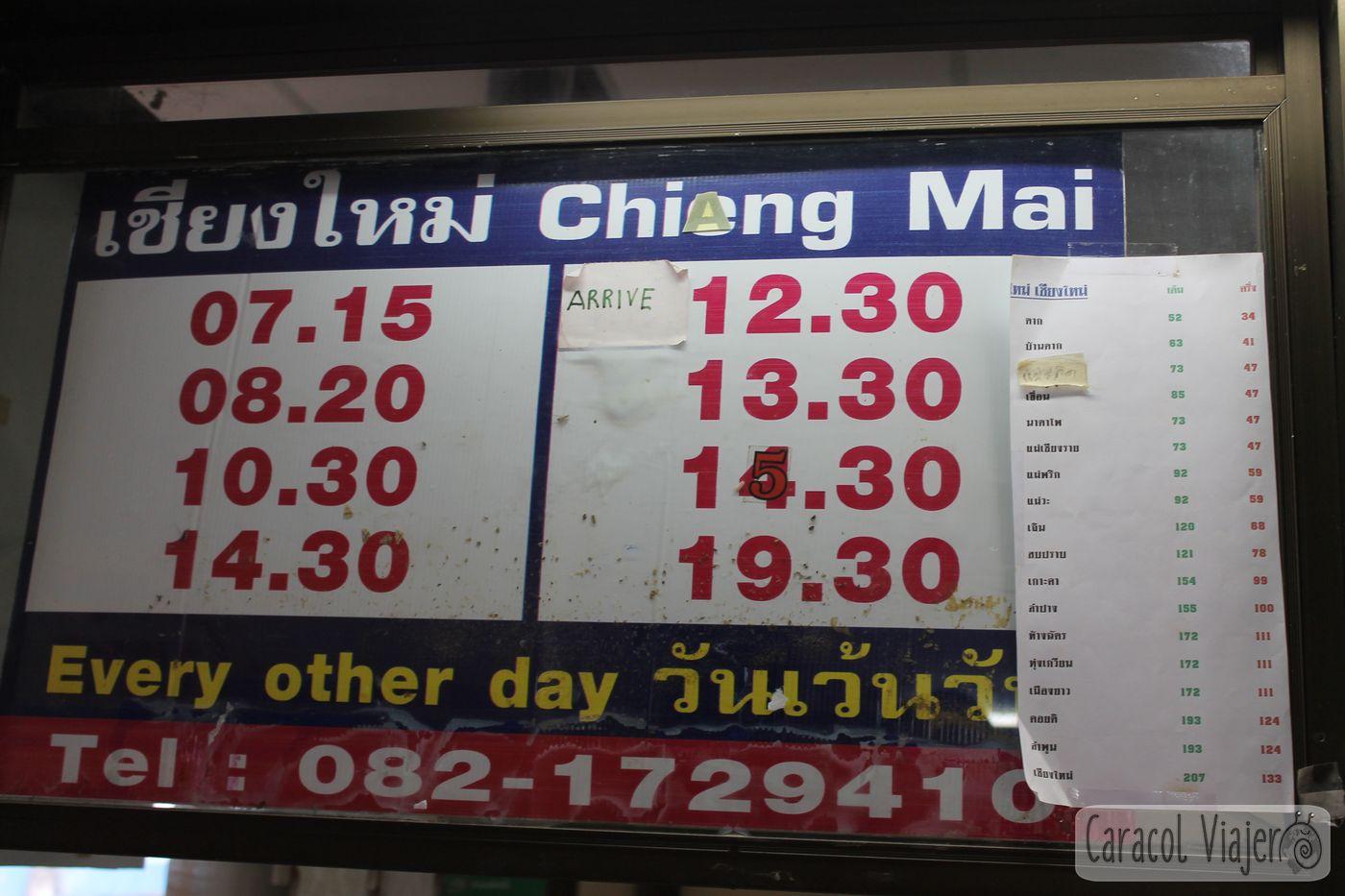 Chiang Mai horarios bus