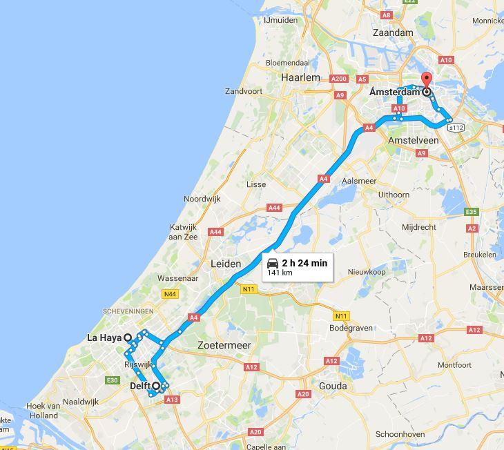 Mapa Holanda ruta 4 días