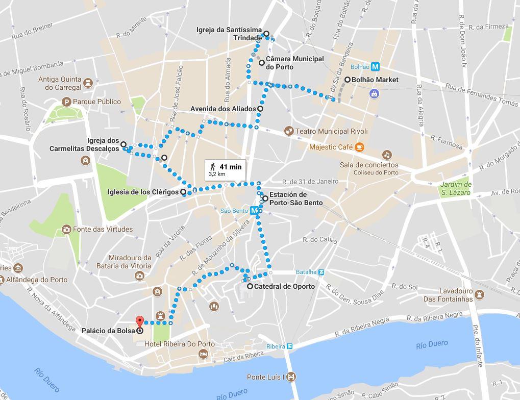 ruta andando 1 día Oporto