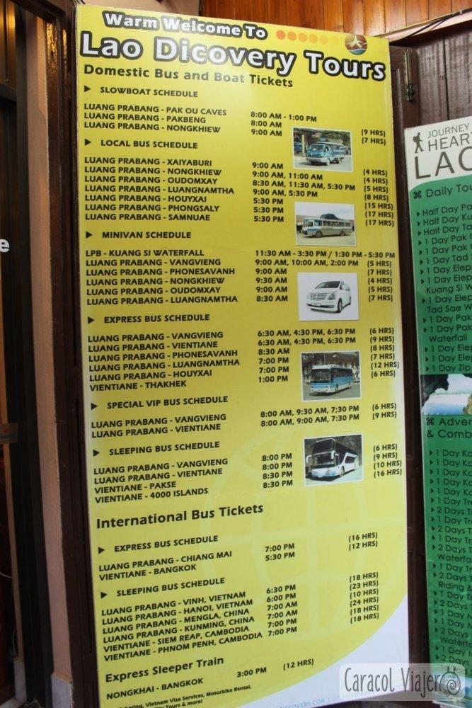 Autobuses transporte Luang Prabang