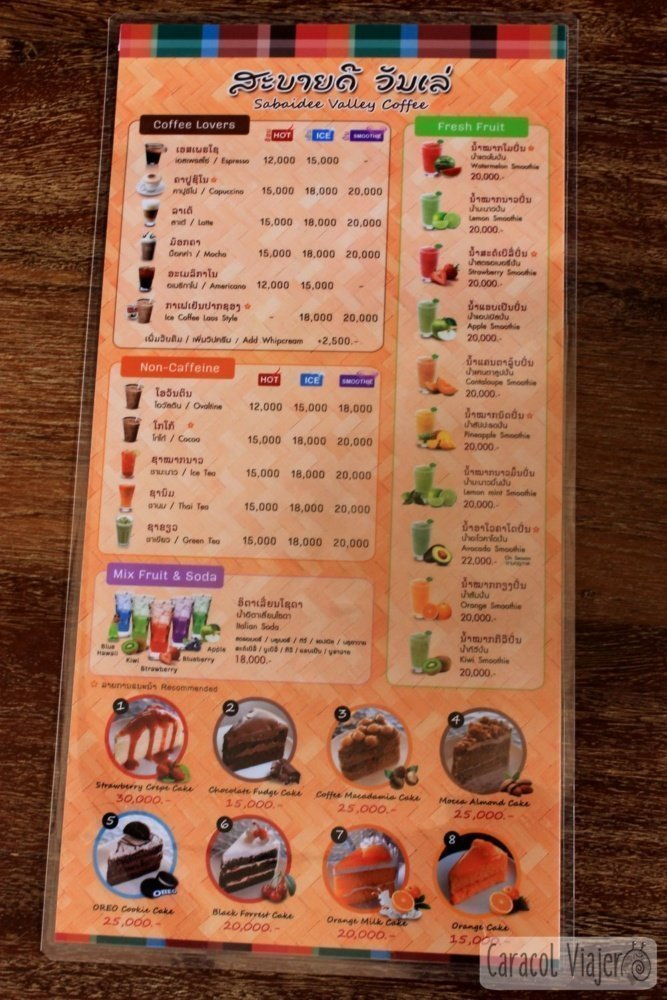 Sabaidee Valley coffeecarta de precios