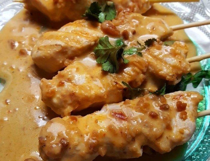 ¡El secreto del satay de pollo con salsa de cacahuete!
