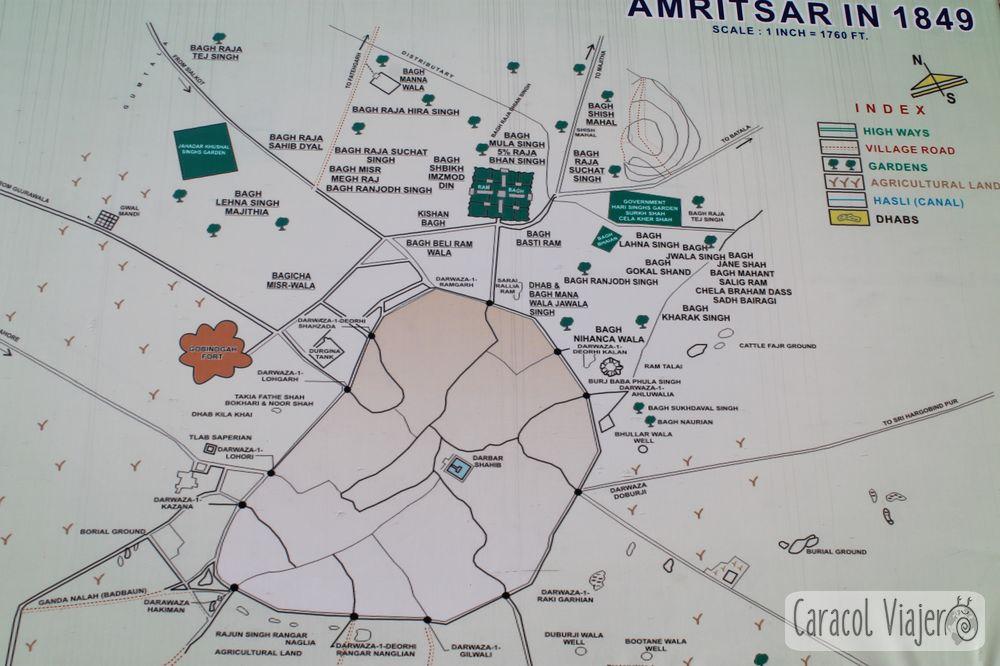 Amritsar y el templo dorado mapa