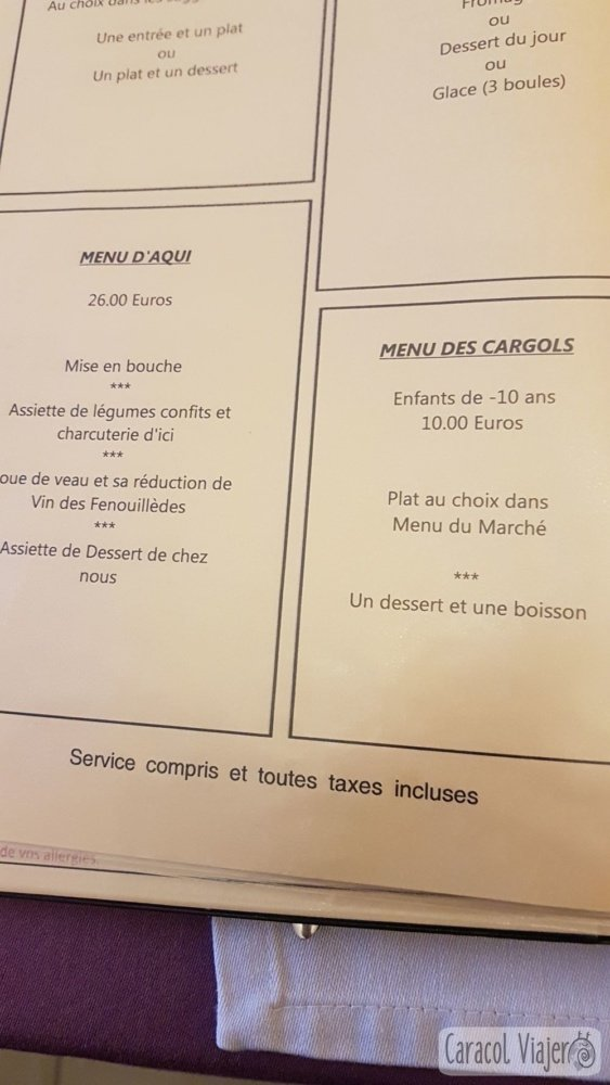 Menús en Francia, precios adultos y niños