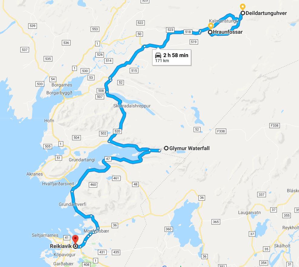 Último día ruta Ring Road mapa