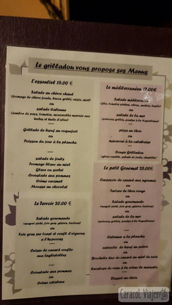 Menú nocturno Francia precios