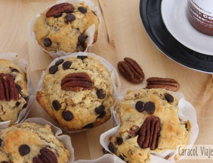 ¡Receta de muffins de pacanas con pepitas de chocolate!
