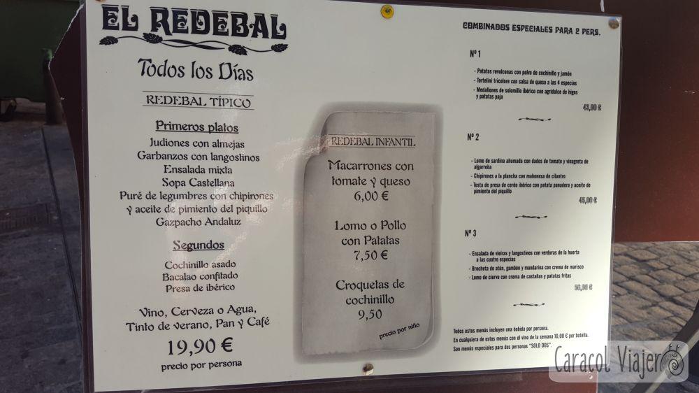 Precios en Segovia menús