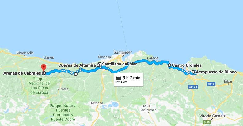 Mapa norte España ruta