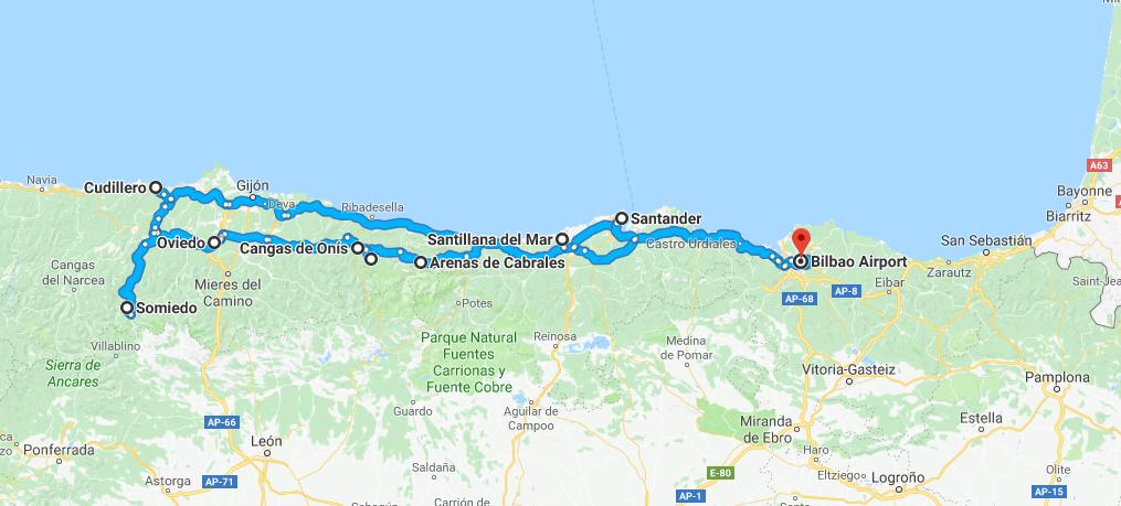 Ruta norte por España