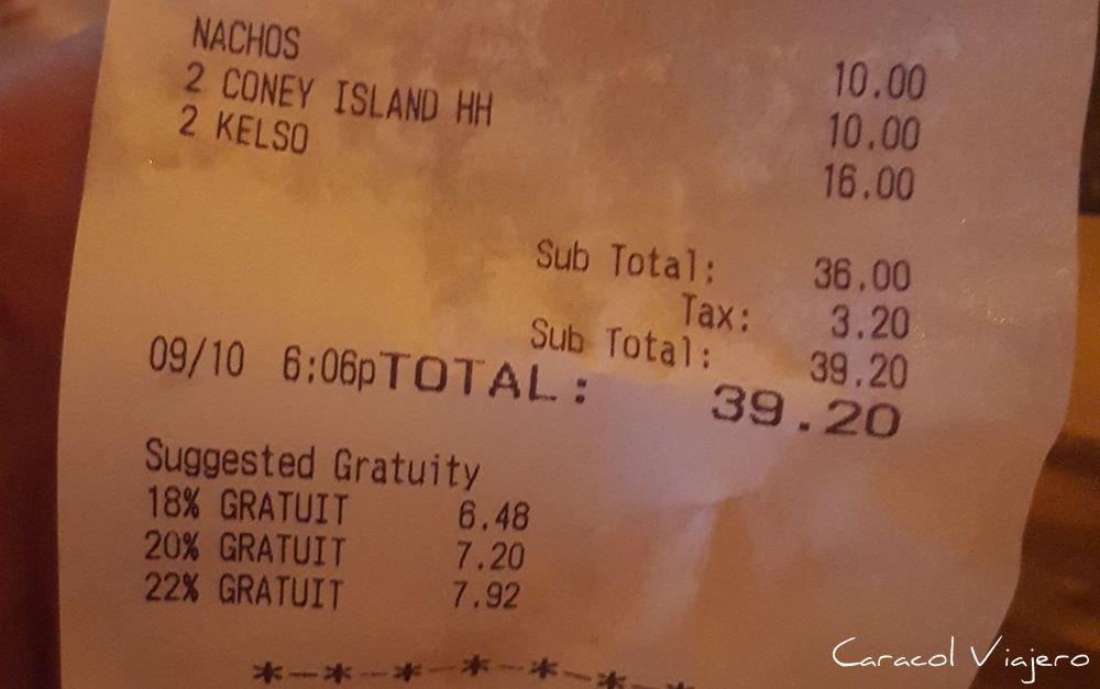 Precios en Nueva York de bebida
