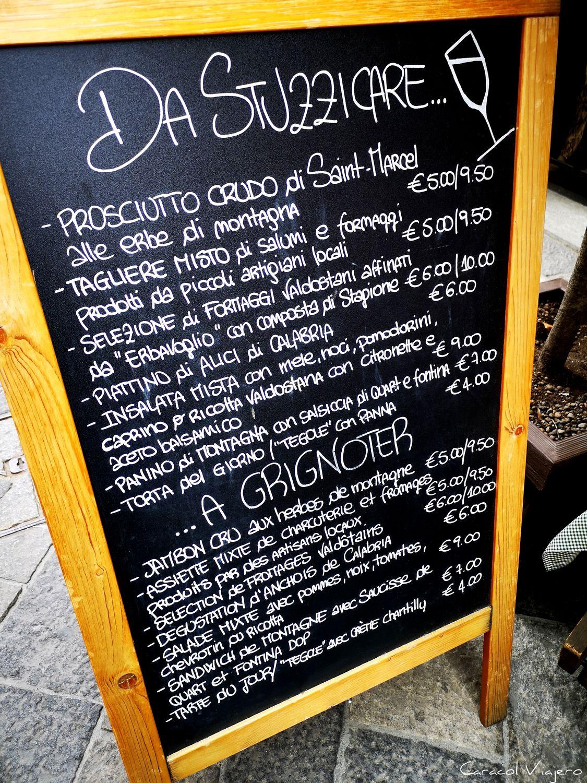 Comida en Aosta menú