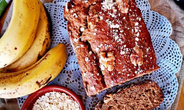 Pan de plátano con harina de avena en 1 hora
