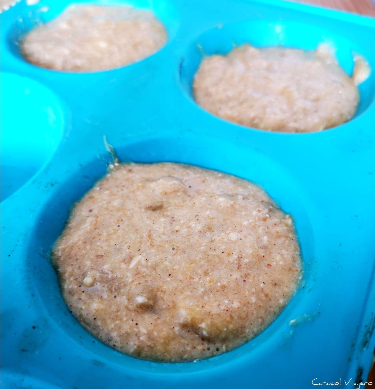 Muffins de plátano y crema de cacahuete