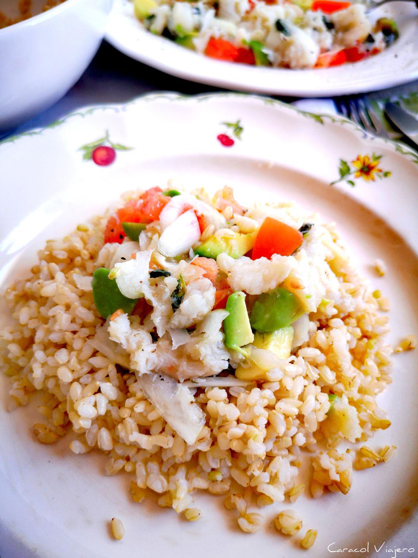 cebiche de bacalao con menta y arroz