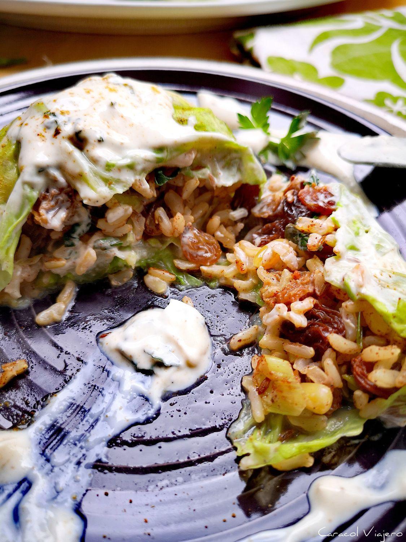 hojas de col rellenas vegetarianas