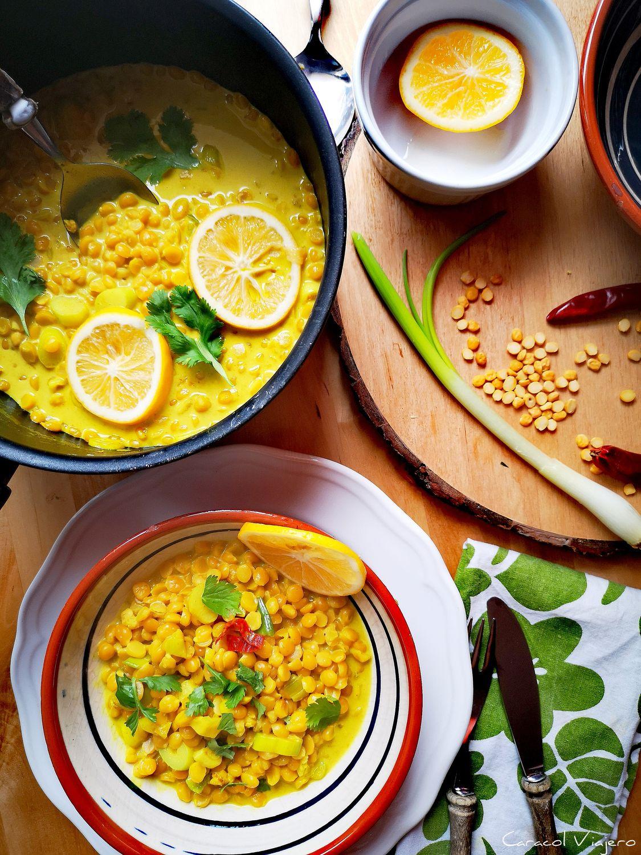 curry hindú de lentejas amarillas